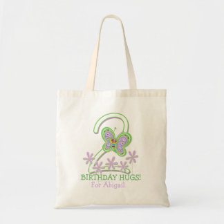 A Treasure of 2nd Birthday Butterfly Hugs Budget Tote Bag