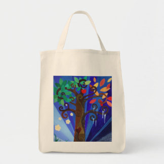 a tree for all seasons grocery tote bag