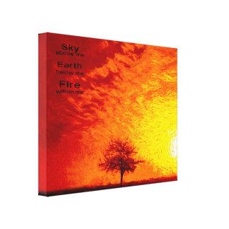 A Tree & Orange, Red & Yellow Sunset Sky-Vibran Canvas Print