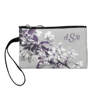 A Tree with White & Purple Flowers Gray Background Coin Purse