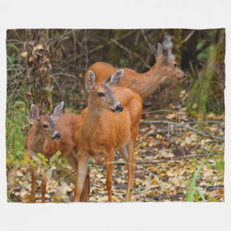 A Trio of Black-Tailed Deer Fleece Blanket