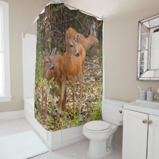 A Trio of Black-Tailed Deer Shower Curtain