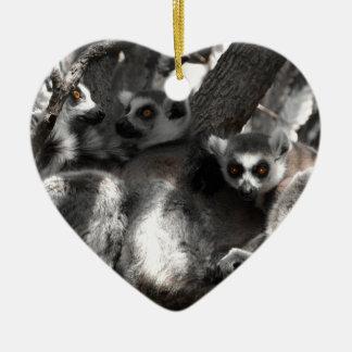 A trio of South African Lemurs Ceramic Heart Decoration