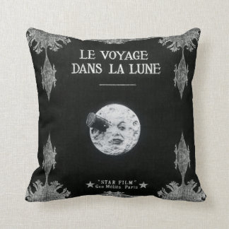 A Trip to the Moon or Le Voyage dans la Lune Retro Cushion