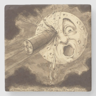 A Trip to the Moon Vintage Drawing Stone Coaster
