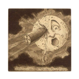 A Trip to the Moon Vintage Drawing Wood Coaster