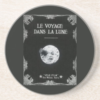 A Trip to the Moon Vintage Retro French Cinema Drink Coasters