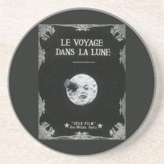 A Trip to the Moon Vintage Retro French Cinema Sandstone Coaster