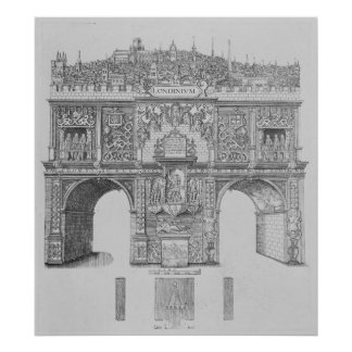 A Triumphal Arch, engraved by William Kip, 1604 Poster