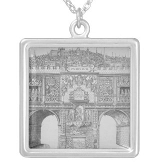 A Triumphal Arch, engraved by William Kip, 1604 Silver Plated Necklace