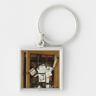 A trompe l'oeil of an open glazed cupboard Silver-Colored square key ring