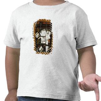 A trompe l'oeil of an open glazed cupboard t-shirts