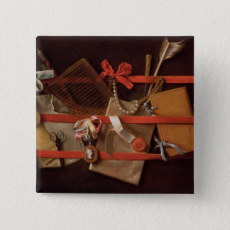 A Trompe L'Oeil of Objects 15 Cm Square Badge