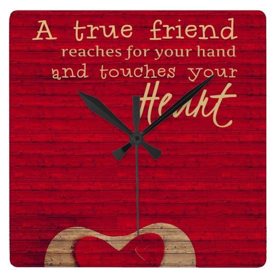 A TRUE FRIEND - Red, Tan - CLOCK