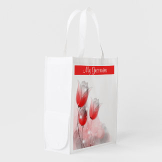 A Tulip Abstract Reusable Grocery Bag