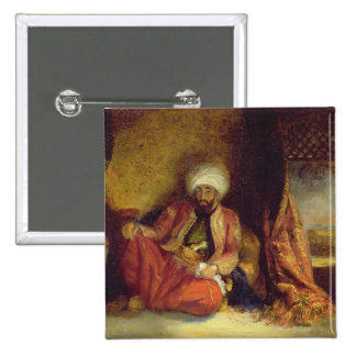 A Turk Smoking a Pipe 15 Cm Square Badge
