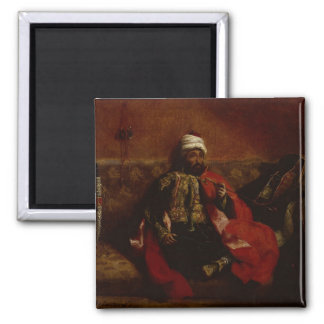 A Turk smoking sitting on a sofa, c.1825 Square Magnet