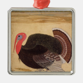 A turkey-cock, brought to Jahangir Silver-Colored Square Decoration
