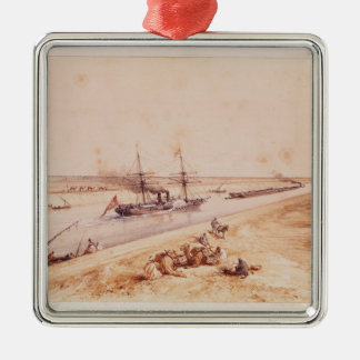 A Turkish Paddle Steamer Going Up the Suez Canal Christmas Ornament