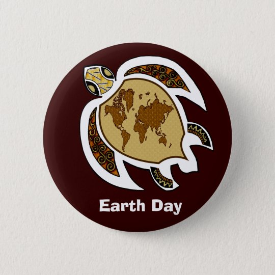 A Turtle For Earth Day On A Badge Button