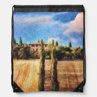 A Tuscan Hillside Drawstring Backpacks