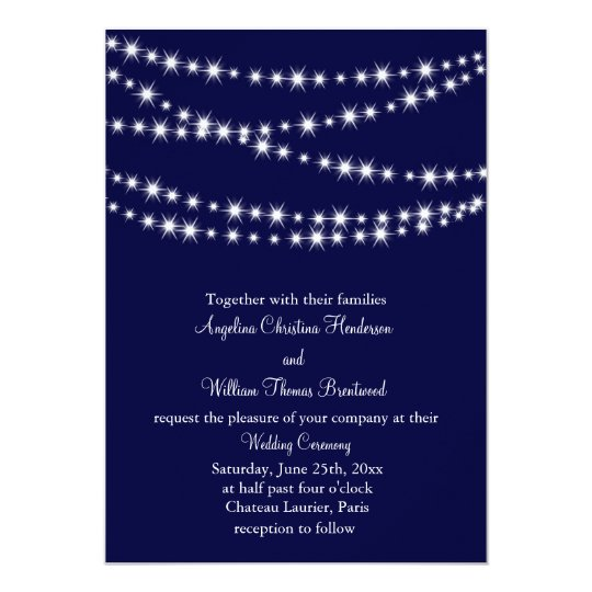 A Twinkle Lights Wedding Invitation (navy)