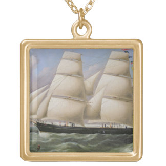 A Two Masted Schooner off Dover (oil on canvas) Gold Plated Necklace