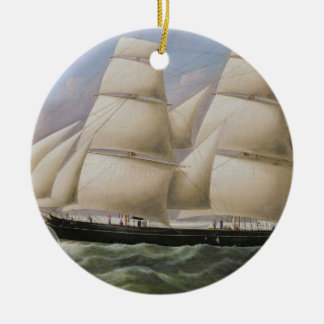 A Two Masted Schooner off Dover (oil on canvas) Round Ceramic Decoration