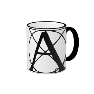 A - Typography Initial Ringer Coffee Mug