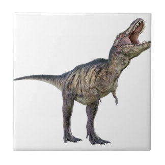 A Tyrannosaurus Rex Looking Up and Roaring Small Square Tile