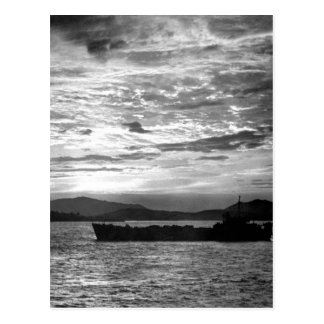 A U.N. LST slips into the harbor _War Image Postcard