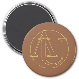 """""""A&U"""" your monogram on """"iced coffee"""" color 7.5 Cm Round Magnet"""