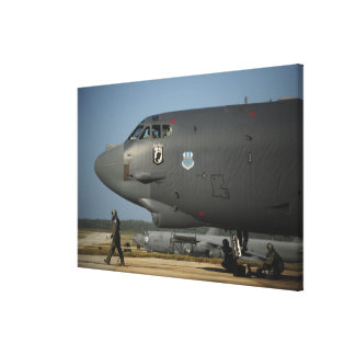 A US Air Force aircrew prepares a B-52 Stretched Canvas Print