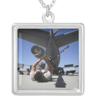 A US Air Force Airman lifts the boom of a KC-13 Silver Plated Necklace