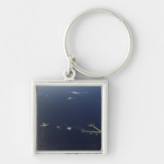 A US Air Force B-52 Stratofortress aircraft 3 Silver-Colored Square Key Ring