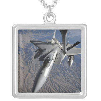 A US Air Force F-15 Eagle Silver Plated Necklace