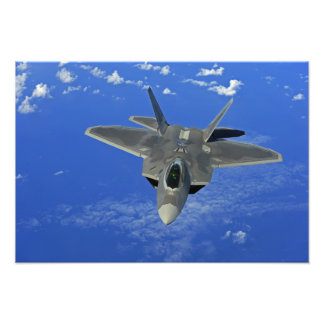A US Air Force F-22 Raptor in flight near Guam Photo Print