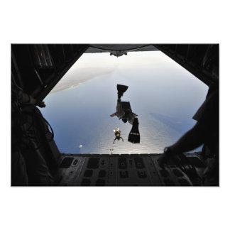 A US Air Force pararescueman jumping out Photo Print