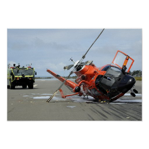 A US Coast Guard MH-65 Dolphin helicopter crash Poster