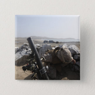 A US Marine fires a mortar in Salinas, Peru 15 Cm Square Badge