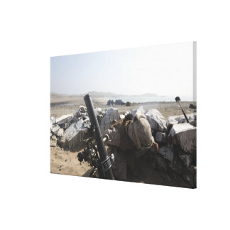 A US Marine fires a mortar in Salinas, Peru Stretched Canvas Print