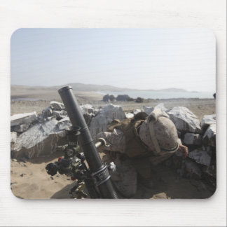 A US Marine fires a mortar in Salinas, Peru Mouse Mat