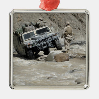 A US Marine guiding the driver of a Humvee Christmas Ornament