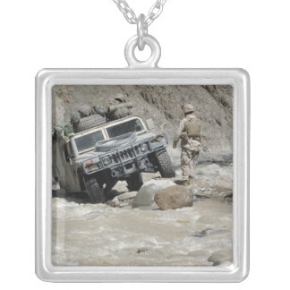 A US Marine guiding the driver of a Humvee Silver Plated Necklace