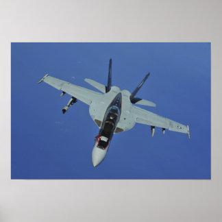A US Navy F/A-18F Super Hornet in flight Poster