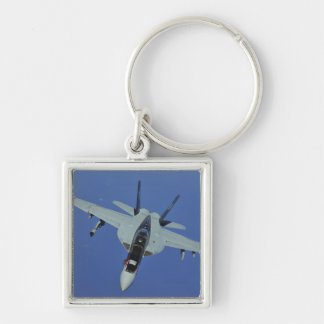 A US Navy F/A-18F Super Hornet in flight Silver-Colored Square Key Ring