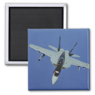 A US Navy F/A-18F Super Hornet in flight Square Magnet