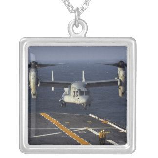 A V-22 Osprey aircraft prepares to land Silver Plated Necklace