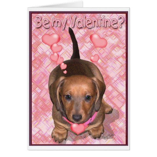 A Valentine Doxie Puppy Card