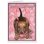 A Valentine Doxie Puppy Greeting Card